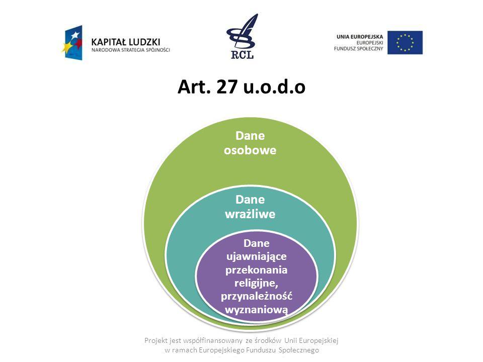 Projekt jest współfinansowany ze środków Unii Europejskiej w ramach Europejskiego Funduszu Społecznego Dane osobowe Dane wrażliwe Dane ujawniające przekonania religijne, przynależność wyznaniową Art.