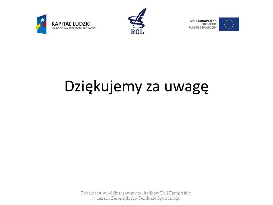 Dziękujemy za uwagę Projekt jest współfinansowany ze środków Unii Europejskiej w ramach Europejskiego Funduszu Społecznego