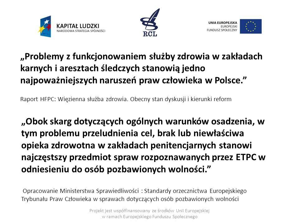 """Projekt jest współfinansowany ze środków Unii Europejskiej w ramach Europejskiego Funduszu Społecznego """"Problemy z funkcjonowaniem służby zdrowia w zakładach karnych i aresztach śledczych stanowią jedno najpoważniejszych naruszeń praw człowieka w Polsce. Raport HFPC: Więzienna służba zdrowia."""