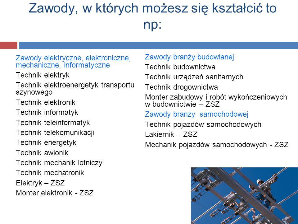 Zawody elektryczne, elektroniczne, mechaniczne, informatyczne Technik elektryk Technik elektroenergetyk transportu szynowego Technik elektronik Techni