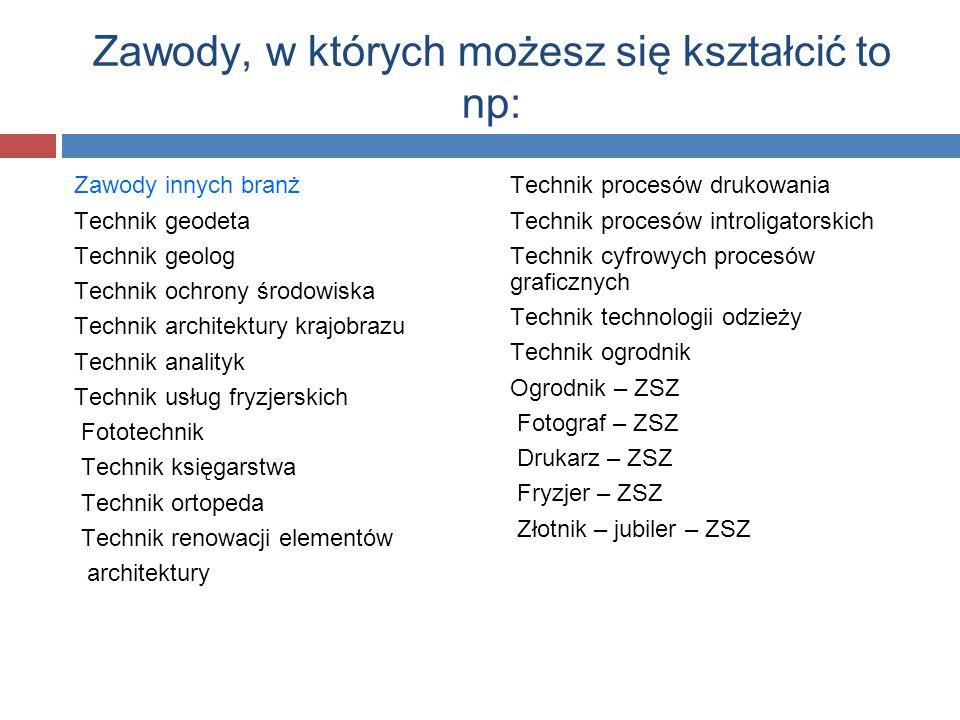 Zawody, w których możesz się kształcić to np: Zawody innych branż Technik geodeta Technik geolog Technik ochrony środowiska Technik architektury krajo