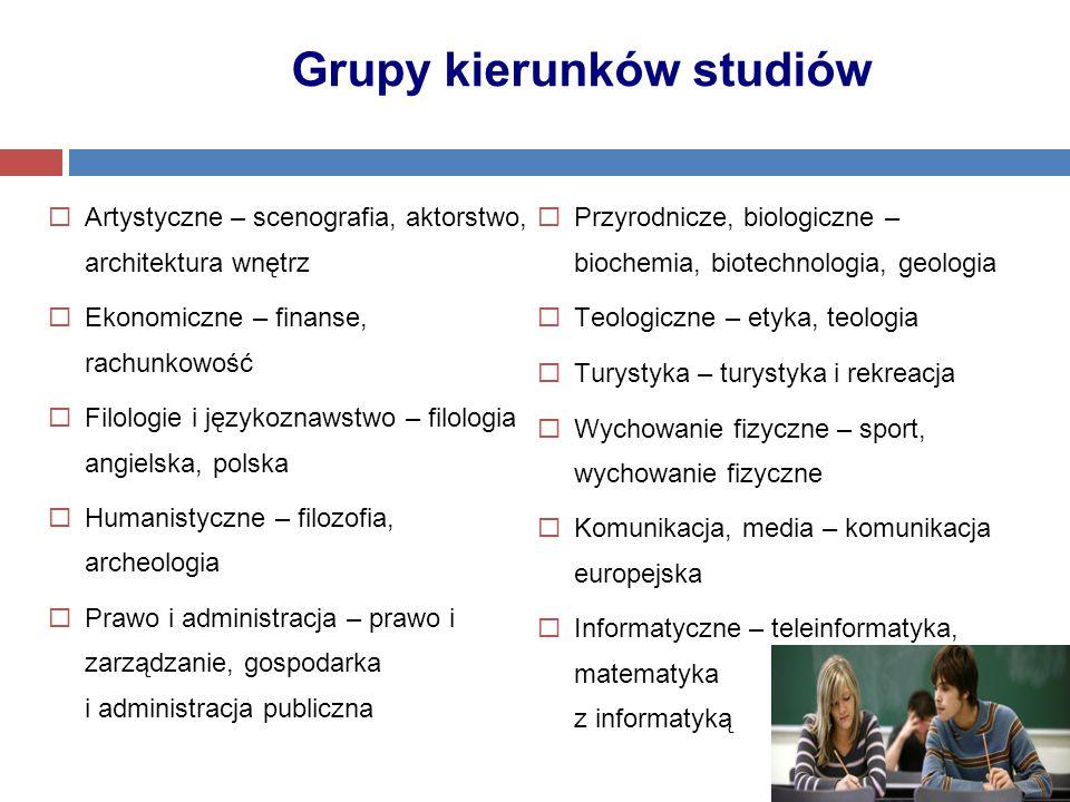 Grupy kierunków studiów  Artystyczne – scenografia, aktorstwo, architektura wnętrz  Ekonomiczne – finanse, rachunkowość  Filologie i językoznawstwo