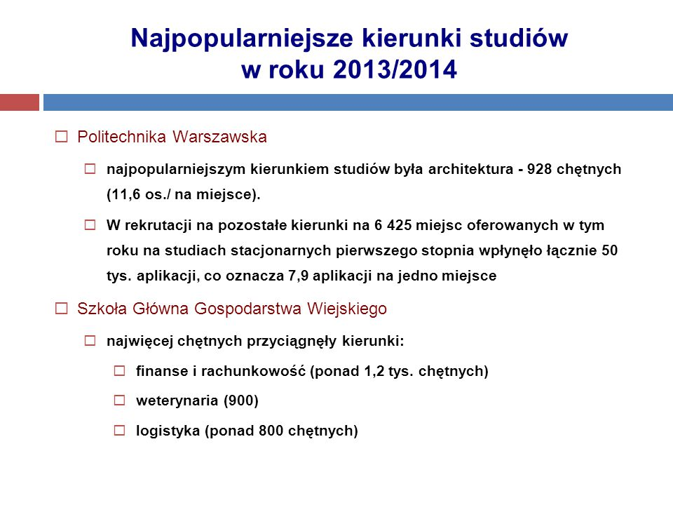  Politechnika Warszawska  najpopularniejszym kierunkiem studiów była architektura - 928 chętnych (11,6 os./ na miejsce).  W rekrutacji na pozostałe