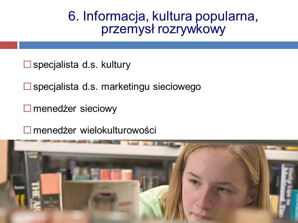 specjalista d.s. kultury  specjalista d.s. marketingu sieciowego  menedżer sieciowy  menedżer wielokulturowości 6. Informacja, kultura popularna,