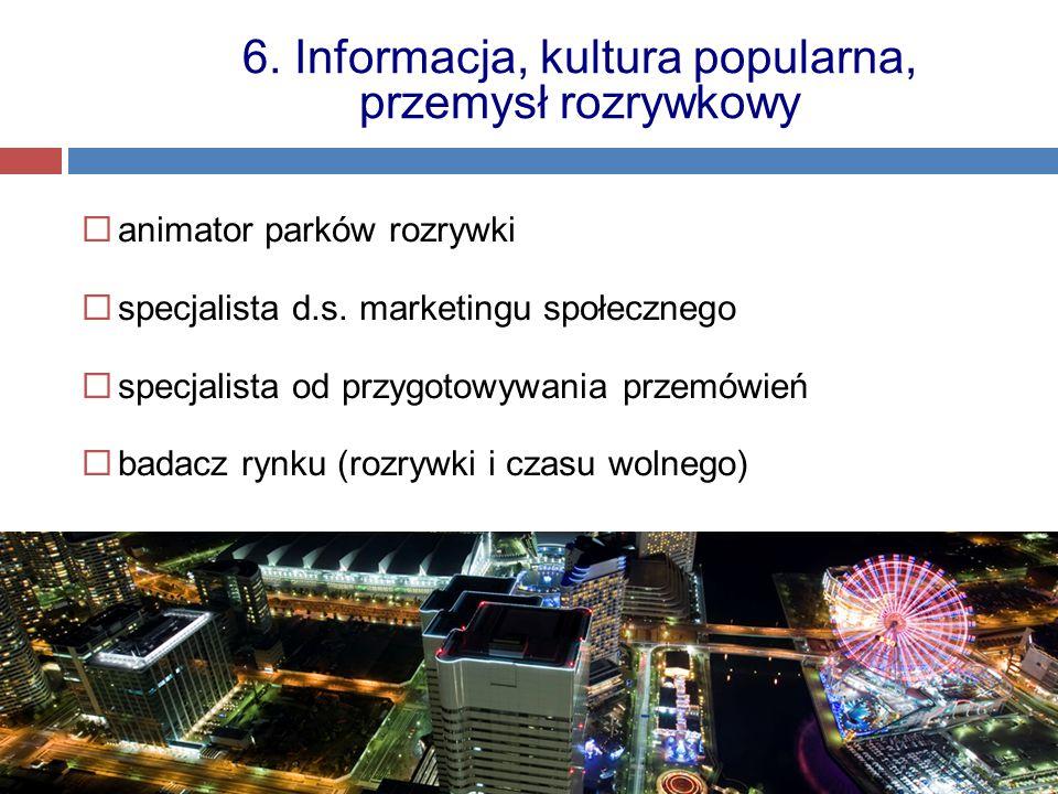  animator parków rozrywki  specjalista d.s. marketingu społecznego  specjalista od przygotowywania przemówień  badacz rynku (rozrywki i czasu woln