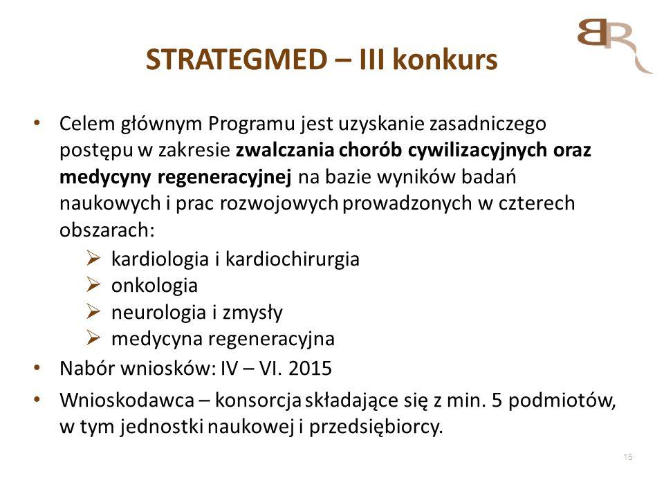 15 STRATEGMED – III konkurs Celem głównym Programu jest uzyskanie zasadniczego postępu w zakresie zwalczania chorób cywilizacyjnych oraz medycyny rege