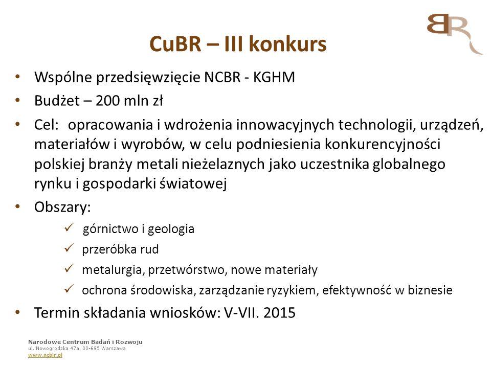 CuBR – III konkurs Wspólne przedsięwzięcie NCBR - KGHM Budżet – 200 mln zł Cel:opracowania i wdrożenia innowacyjnych technologii, urządzeń, materiałów