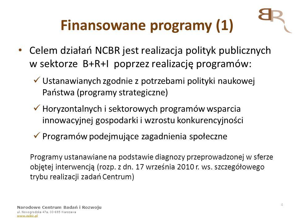 Finansowane programy (1) Celem działań NCBR jest realizacja polityk publicznych w sektorze B+R+I poprzez realizację programów: Ustanawianych zgodnie z