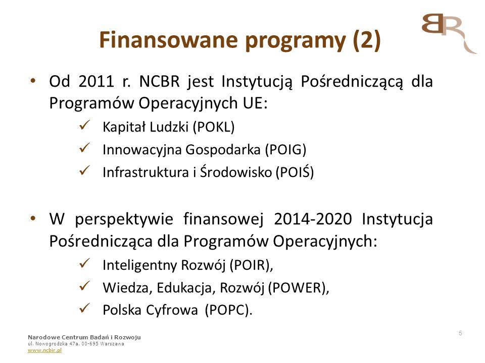 5 Od 2011 r. NCBR jest Instytucją Pośredniczącą dla Programów Operacyjnych UE: Kapitał Ludzki (POKL) Innowacyjna Gospodarka (POIG) Infrastruktura i Śr