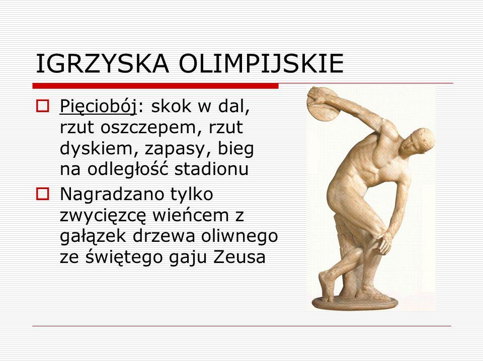 IGRZYSKA OLIMPIJSKIE  Pięciobój: skok w dal, rzut oszczepem, rzut dyskiem, zapasy, bieg na odległość stadionu  Nagradzano tylko zwycięzcę wieńcem z gałązek drzewa oliwnego ze świętego gaju Zeusa