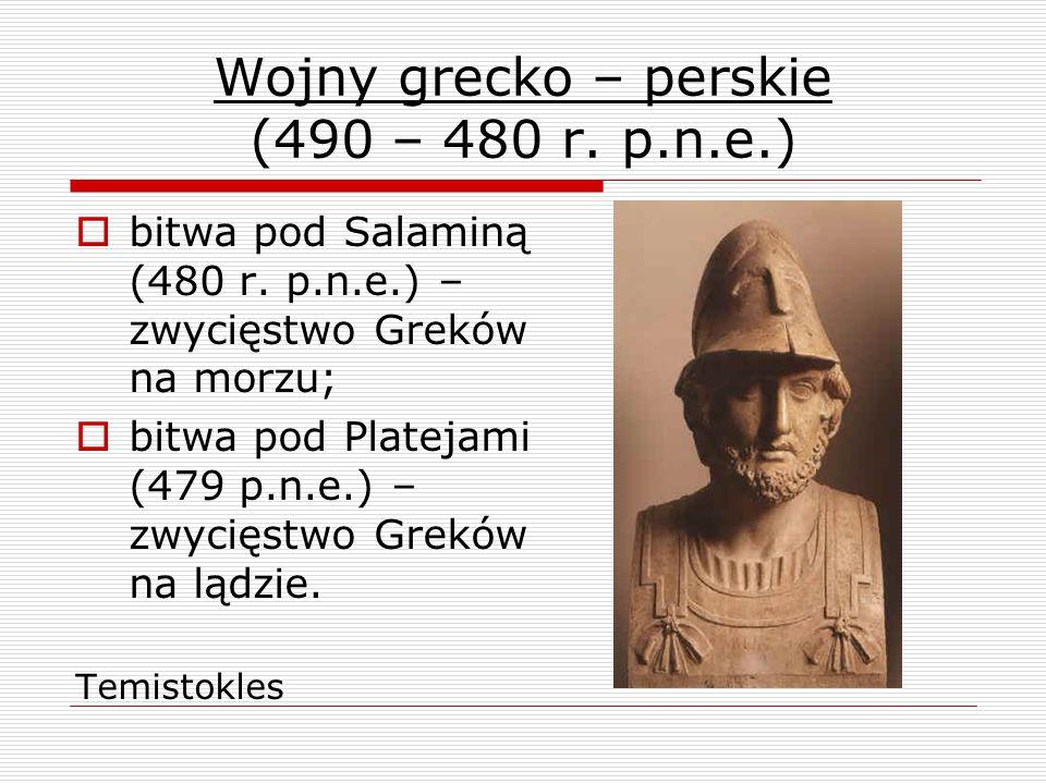 Wojny grecko – perskie (490 – 480 r.p.n.e.)  bitwa pod Salaminą (480 r.