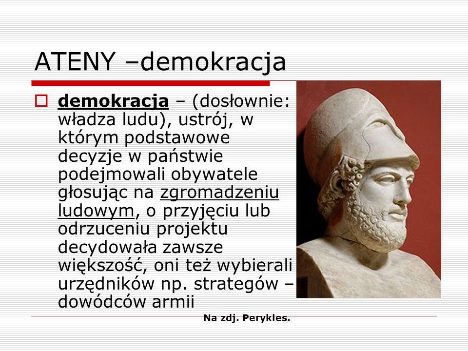 ATENY –demokracja  demokracja – (dosłownie: władza ludu), ustrój, w którym podstawowe decyzje w państwie podejmowali obywatele głosując na zgromadzeniu ludowym, o przyjęciu lub odrzuceniu projektu decydowała zawsze większość, oni też wybierali urzędników np.