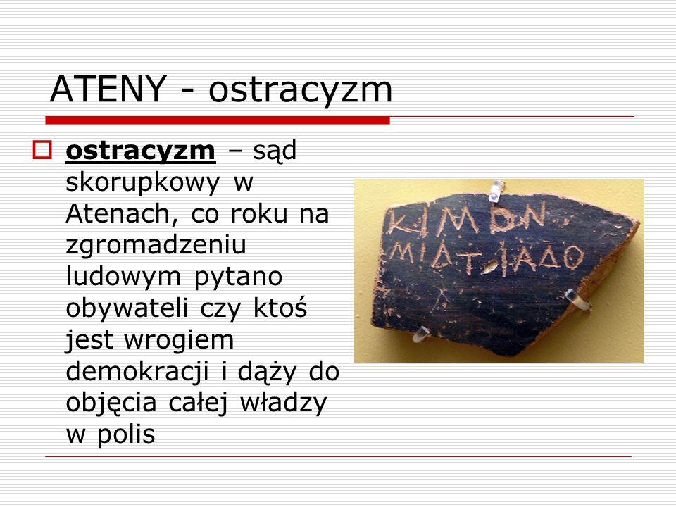ATENY - ostracyzm  ostracyzm – sąd skorupkowy w Atenach, co roku na zgromadzeniu ludowym pytano obywateli czy ktoś jest wrogiem demokracji i dąży do objęcia całej władzy w polis