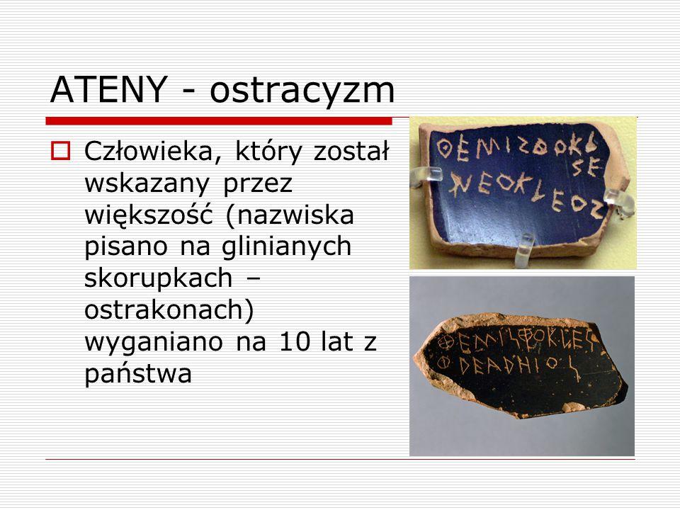 ATENY - ostracyzm  Człowieka, który został wskazany przez większość (nazwiska pisano na glinianych skorupkach – ostrakonach) wyganiano na 10 lat z państwa
