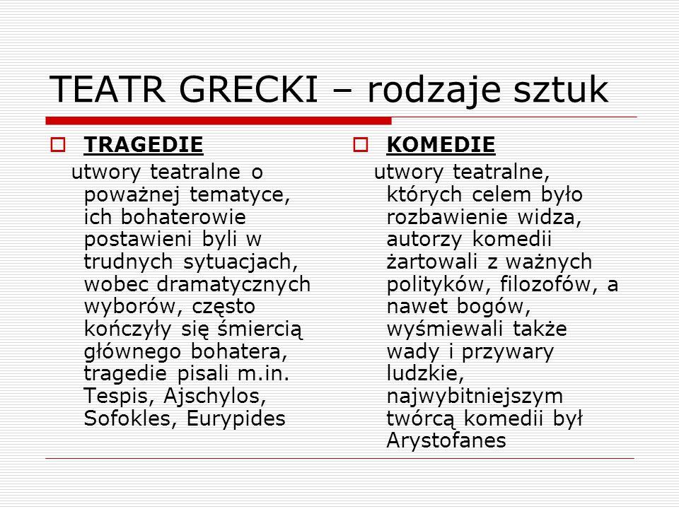 TEATR GRECKI – rodzaje sztuk  TRAGEDIE utwory teatralne o poważnej tematyce, ich bohaterowie postawieni byli w trudnych sytuacjach, wobec dramatycznych wyborów, często kończyły się śmiercią głównego bohatera, tragedie pisali m.in.