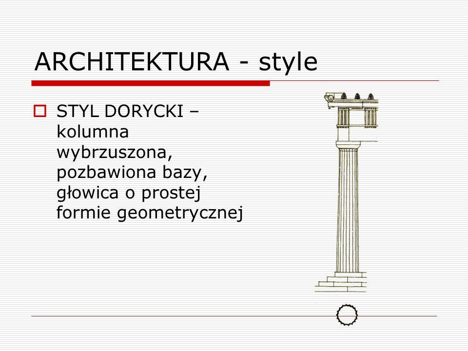  STYL DORYCKI – kolumna wybrzuszona, pozbawiona bazy, głowica o prostej formie geometrycznej