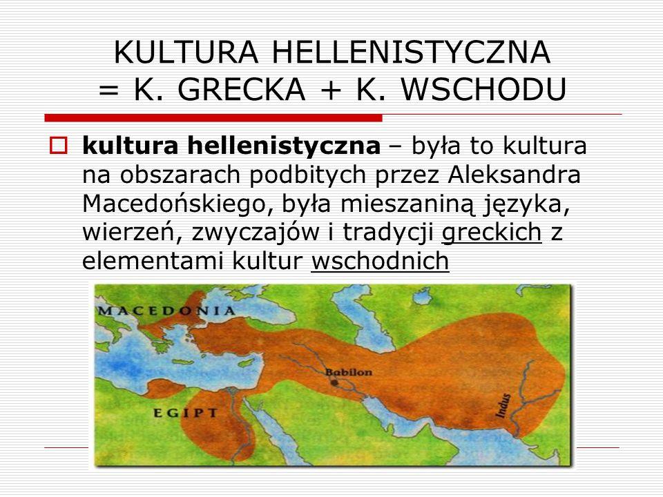 KULTURA HELLENISTYCZNA = K.GRECKA + K.
