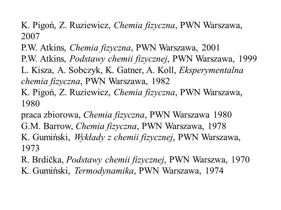 K. Pigoń, Z. Ruziewicz, Chemia fizyczna, PWN Warszawa, 2007 P.W. Atkins, Chemia fizyczna, PWN Warszawa, 2001 P.W. Atkins, Podstawy chemii fizycznej, P