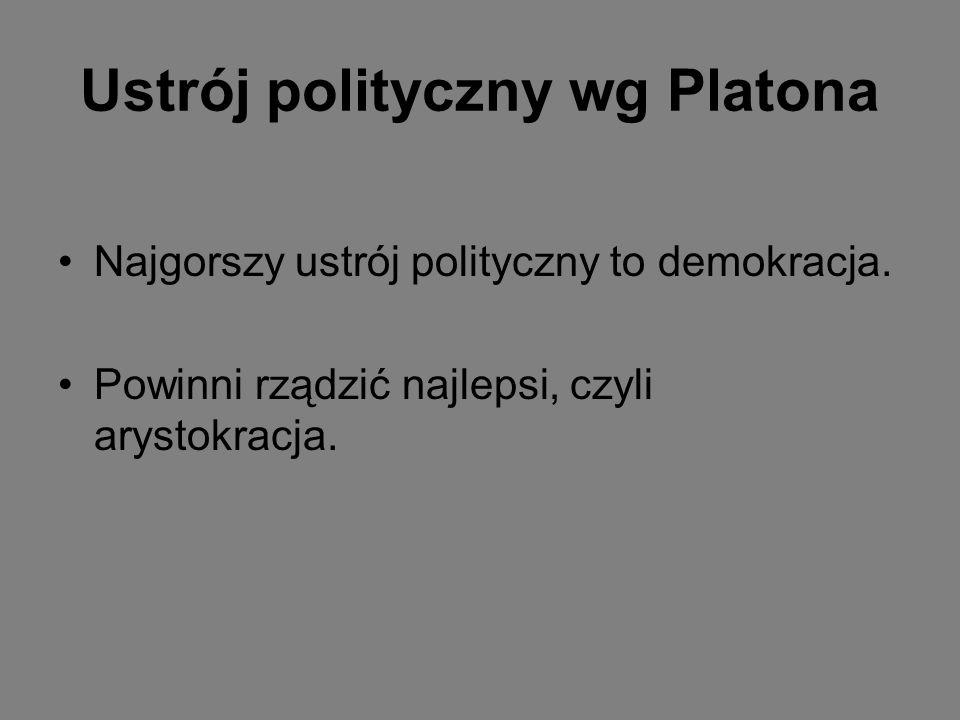 Ustrój polityczny wg Platona Najgorszy ustrój polityczny to demokracja. Powinni rządzić najlepsi, czyli arystokracja.