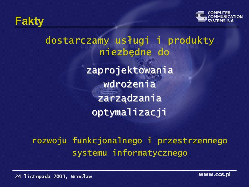 Fakty dostarczamy usługi i produkty niezbędne dozaprojektowaniawdrożeniazarządzaniaoptymalizacji rozwoju funkcjonalnego i przestrzennego systemu informatycznego 24 listopada 2003, Wrocław www.ccs.pl