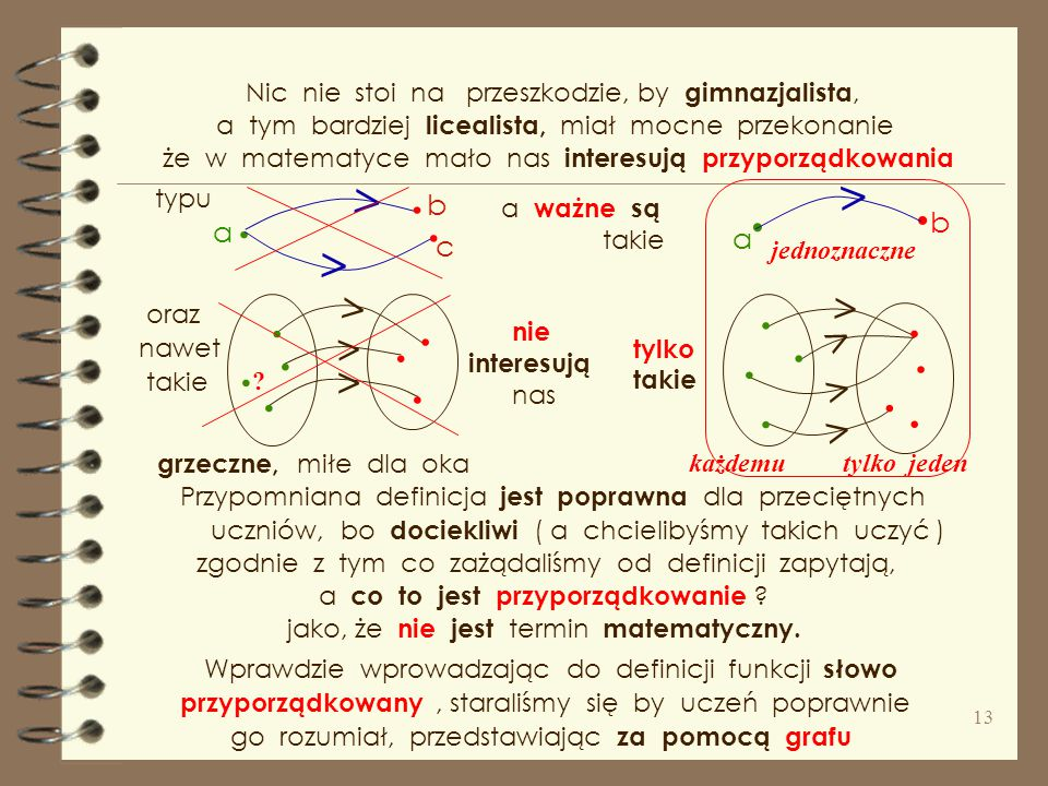"""O fundamentalnej roli pojęcia funkcji głoszę ciągle powtarzając, że """" matematyka na funkcji stoi ."""