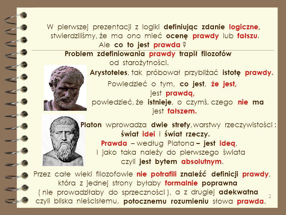 W pierwszej prezentacji z logiki definiując zdanie logiczne, stwierdziliśmy, że ma ono mieć ocenę prawdy lub fałszu.