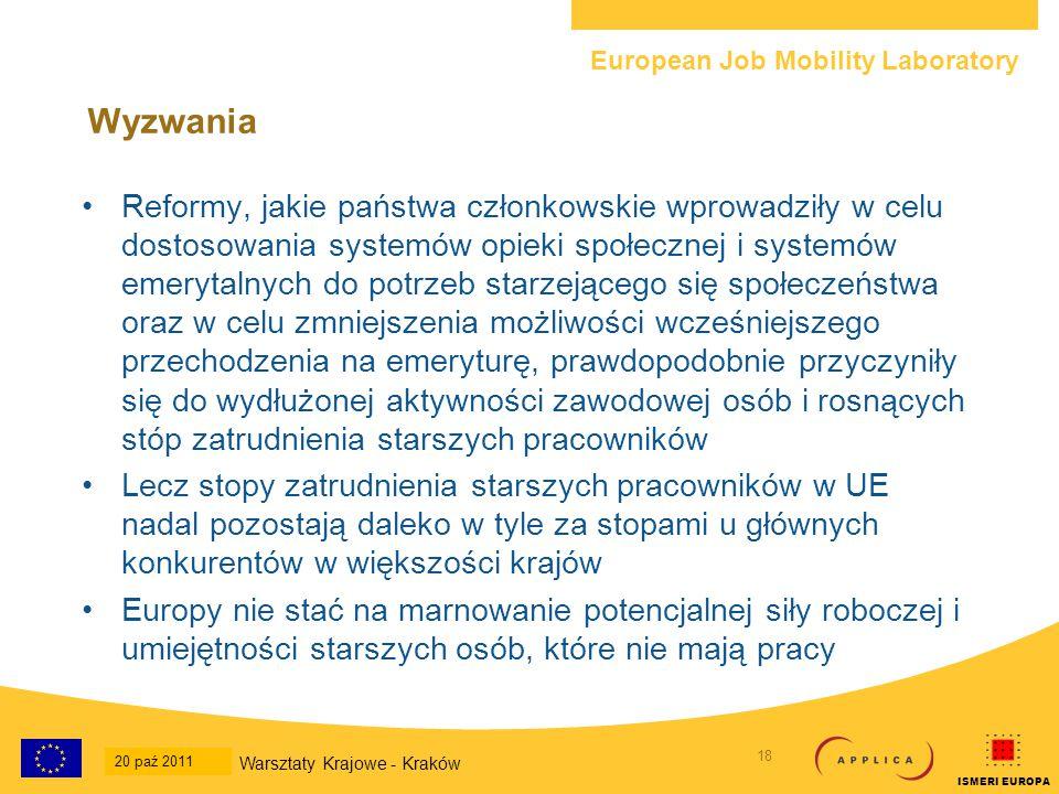 European Job Mobility Laboratory 19 20-Oct-2011 National Workshop - Krakow ISMERI EUROPA Wyzwania Powody, dla których starsi pracownicy zmagają się problemem znalezienia pracy, są złożone i obejmują: –Przestarzałe umiejętności –Brak doświadczenia w poszukiwaniu pracy i samoprezentacji –Problemy zdrowotne (osobiste postrzeganie i ryzyka dostrzegane przez pracodawców) –Stosunkowo kosztowne zatrudnienie (wysokie oczekiwania ze strony wykwalifikowanych osób i postrzeganie ich jako posiadających nadmierne kwalifikacje) –Brak odpowiednich stanowisk (elastyczne godziny zatrudnienia w niepełnym wymiarze jako etap przejściowy przed emeryturą) Przeciwdziałanie tym problemom wymaga bezpośredniej współpracy zarówno ze starszymi pracownikami, jak i pracodawcami Warsztaty Krajowe - Kraków 20 paź 2011