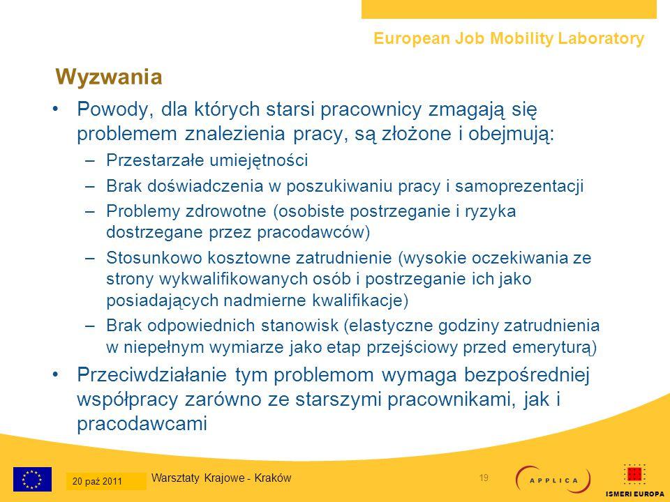 European Job Mobility Laboratory 20 20-Oct-2011 National Workshop - Krakow ISMERI EUROPA Wyzwania W niektórych krajach funkcjonują programy subsydiów, których celem jest albo utrzymanie miejsc pracy starszych pracowników, albo zachęcanie pracodawców do ich zatrudniania (np.