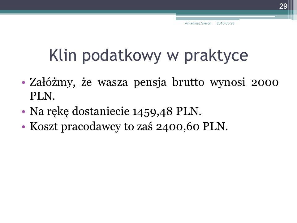 Załóżmy, że wasza pensja brutto wynosi 2000 PLN. Na rękę dostaniecie 1459,48 PLN. Koszt pracodawcy to zaś 2400,60 PLN. 2015-03-28Arkadiusz Sieroń 29 K