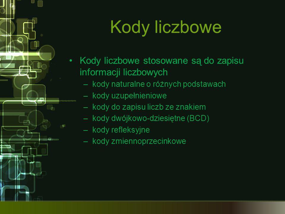Kody liczbowe Kody liczbowe stosowane są do zapisu informacji liczbowych –kody naturalne o różnych podstawach –kody uzupełnieniowe –kody do zapisu lic