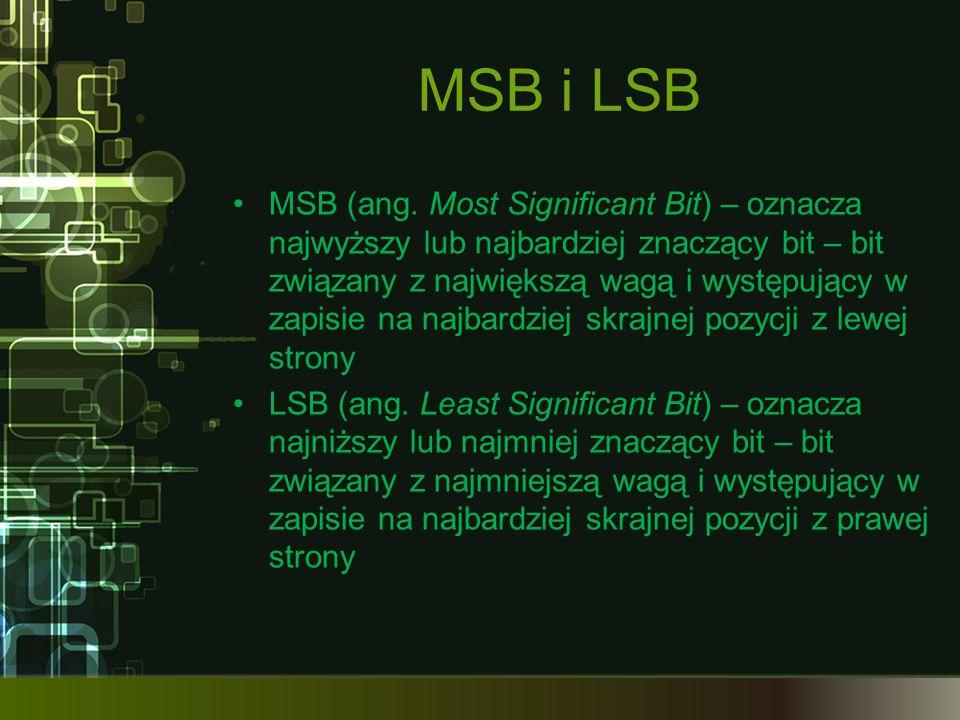 MSB i LSB MSB (ang. Most Significant Bit) – oznacza najwyższy lub najbardziej znaczący bit – bit związany z największą wagą i występujący w zapisie na