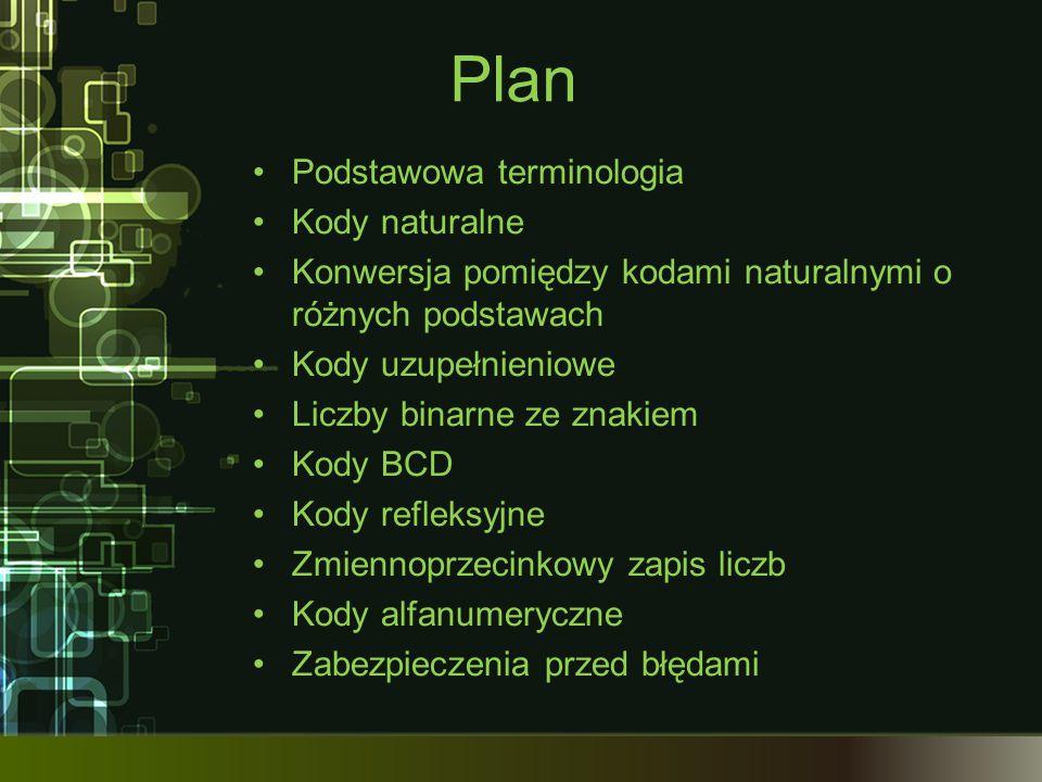Plan Podstawowa terminologia Kody naturalne Konwersja pomiędzy kodami naturalnymi o różnych podstawach Kody uzupełnieniowe Liczby binarne ze znakiem K