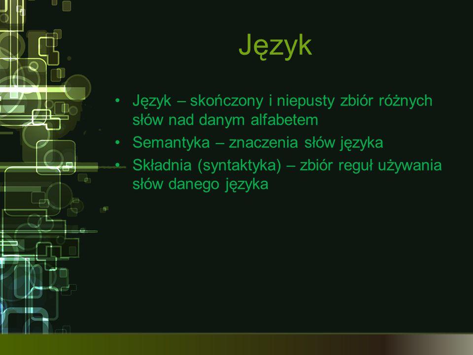 Język Język – skończony i niepusty zbiór różnych słów nad danym alfabetem Semantyka – znaczenia słów języka Składnia (syntaktyka) – zbiór reguł używan