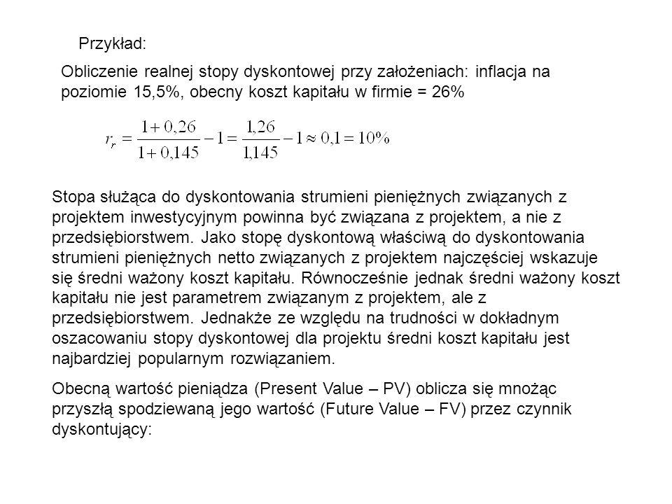 Przykład: Obliczenie realnej stopy dyskontowej przy założeniach: inflacja na poziomie 15,5%, obecny koszt kapitału w firmie = 26% Stopa służąca do dys