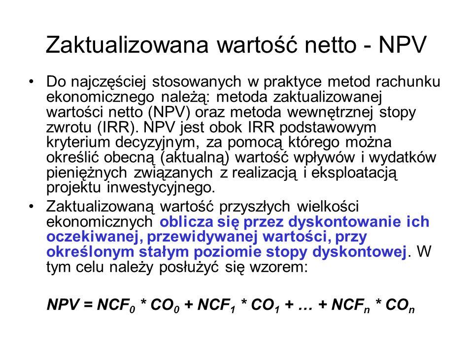 Zaktualizowana wartość netto - NPV Do najczęściej stosowanych w praktyce metod rachunku ekonomicznego należą: metoda zaktualizowanej wartości netto (N
