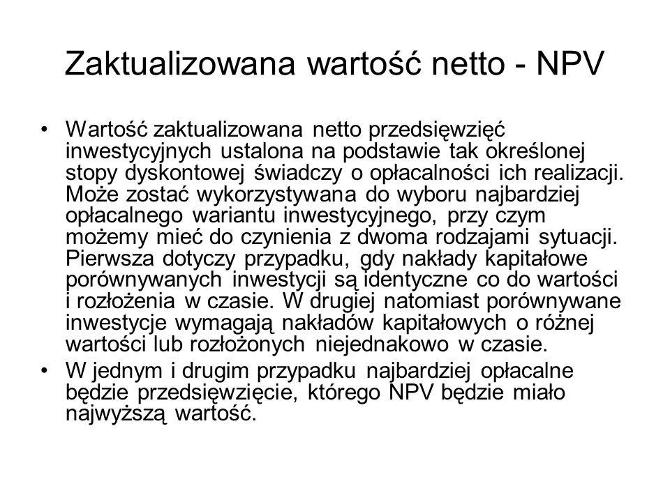 Zaktualizowana wartość netto - NPV Wartość zaktualizowana netto przedsięwzięć inwestycyjnych ustalona na podstawie tak określonej stopy dyskontowej św