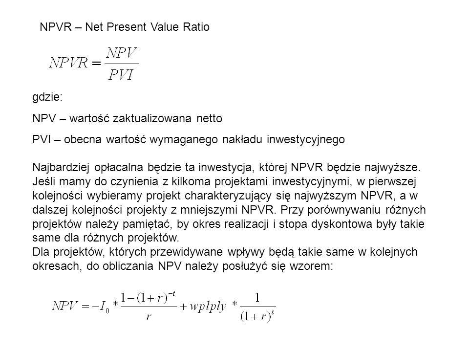 NPVR – Net Present Value Ratio gdzie: NPV – wartość zaktualizowana netto PVI – obecna wartość wymaganego nakładu inwestycyjnego Najbardziej opłacalna