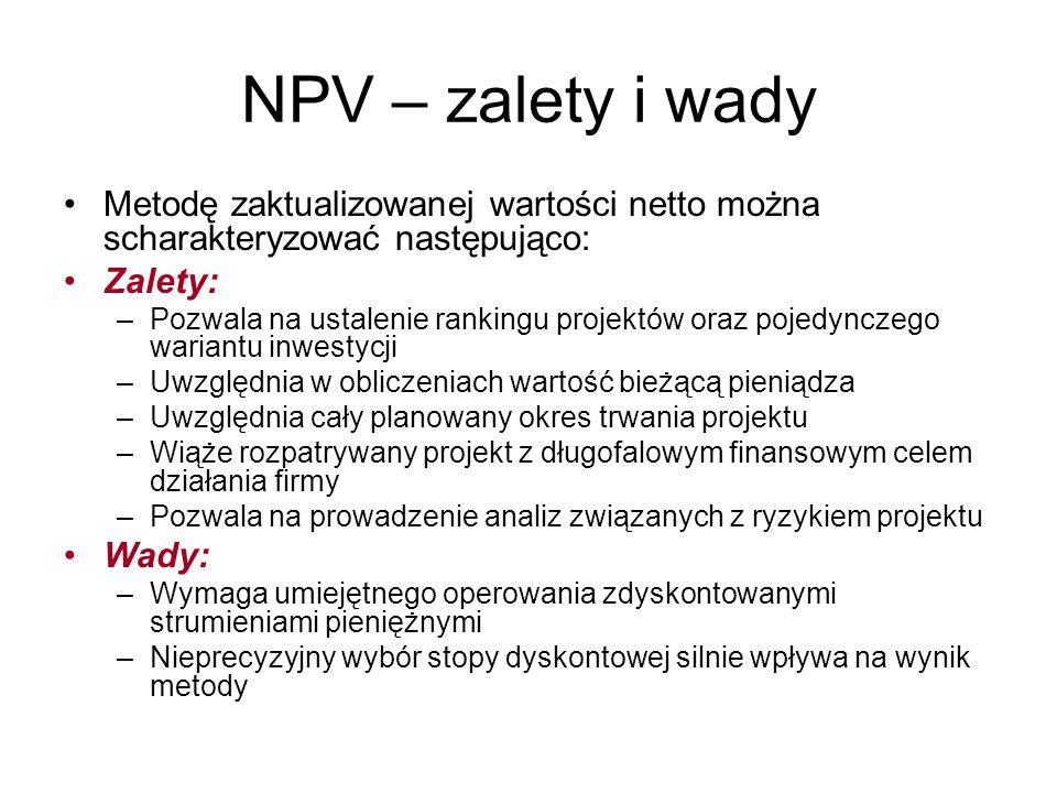 NPV – zalety i wady Metodę zaktualizowanej wartości netto można scharakteryzować następująco: Zalety: –Pozwala na ustalenie rankingu projektów oraz po