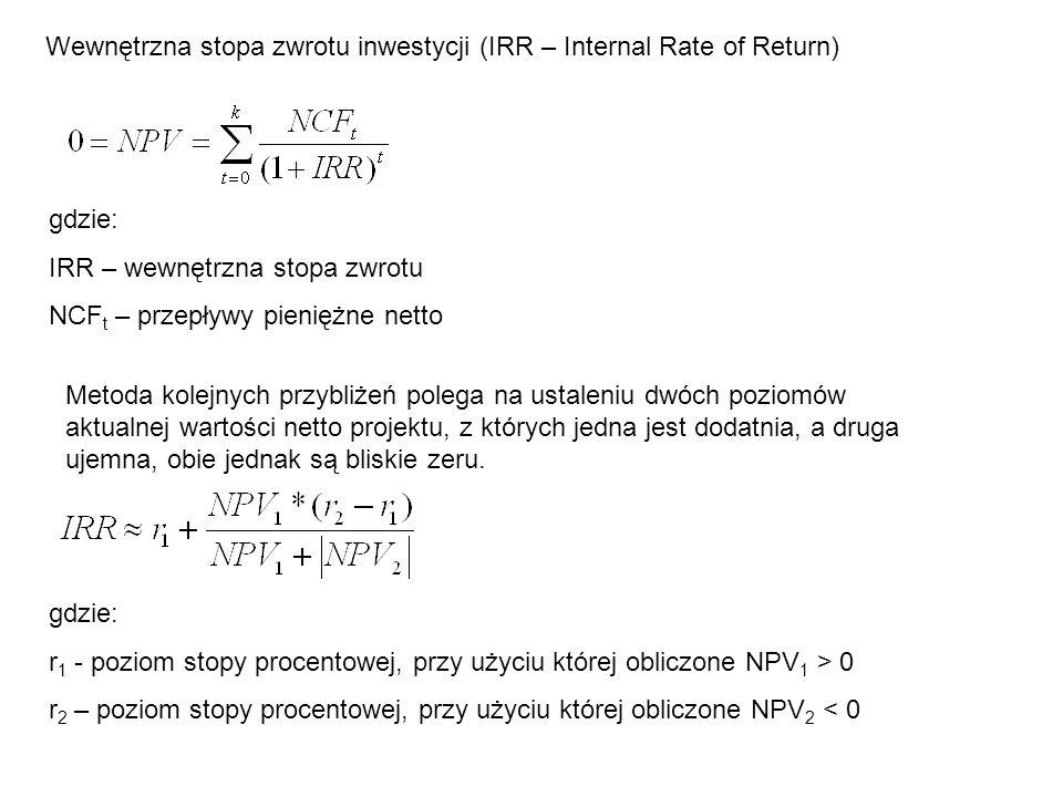 Wewnętrzna stopa zwrotu inwestycji (IRR – Internal Rate of Return) gdzie: IRR – wewnętrzna stopa zwrotu NCF t – przepływy pieniężne netto gdzie: r 1 -