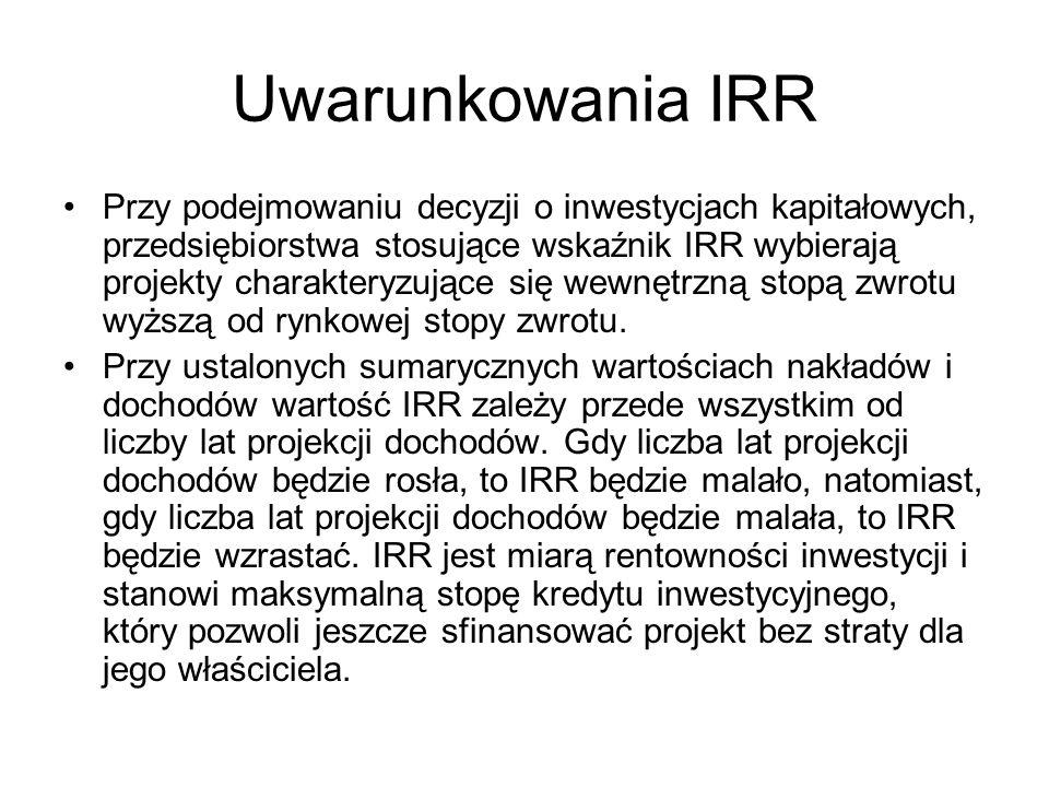 Uwarunkowania IRR Przy podejmowaniu decyzji o inwestycjach kapitałowych, przedsiębiorstwa stosujące wskaźnik IRR wybierają projekty charakteryzujące s