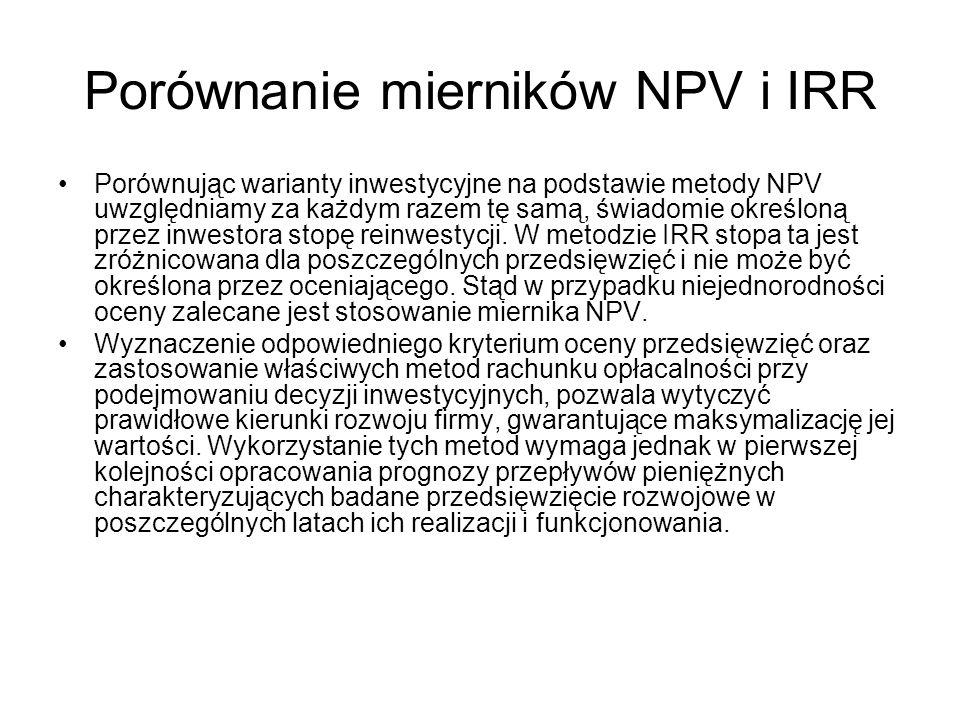 Porównanie mierników NPV i IRR Porównując warianty inwestycyjne na podstawie metody NPV uwzględniamy za każdym razem tę samą, świadomie określoną prze
