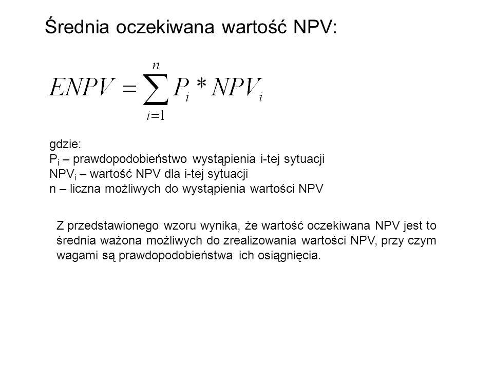Średnia oczekiwana wartość NPV: gdzie: P i – prawdopodobieństwo wystąpienia i-tej sytuacji NPV i – wartość NPV dla i-tej sytuacji n – liczna możliwych