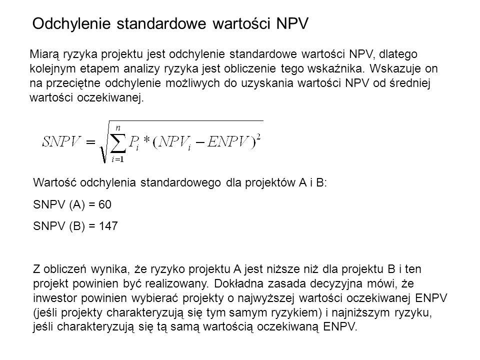 Odchylenie standardowe wartości NPV Miarą ryzyka projektu jest odchylenie standardowe wartości NPV, dlatego kolejnym etapem analizy ryzyka jest oblicz