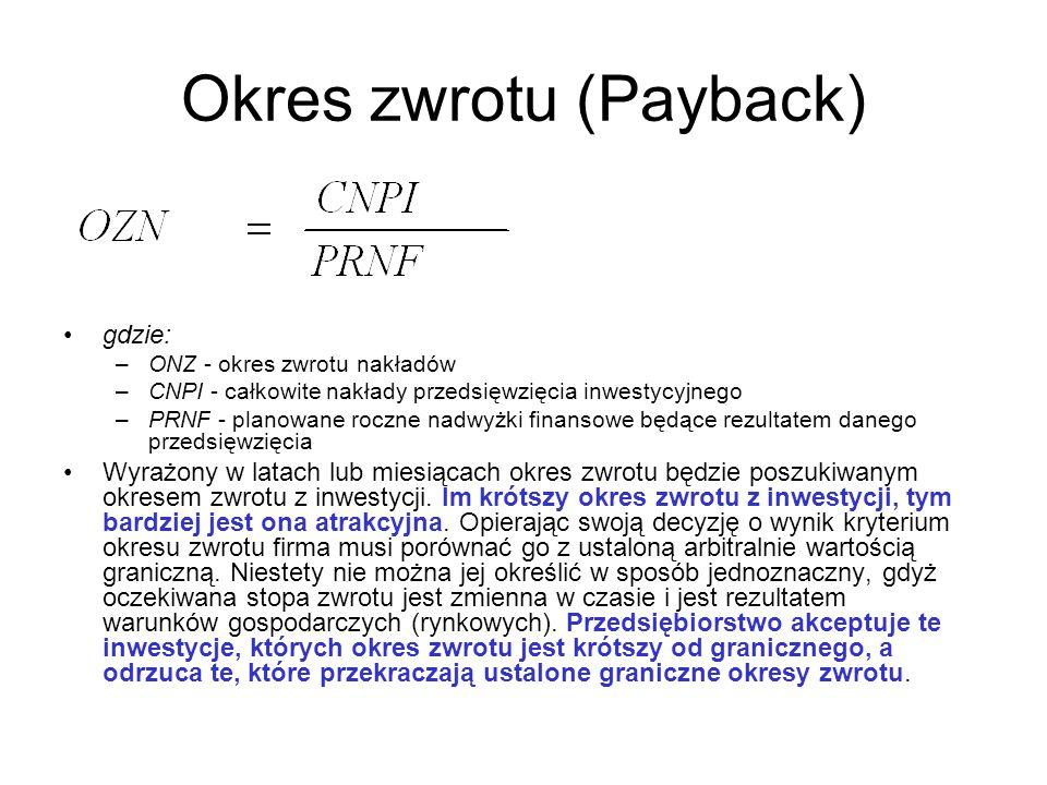 Okres zwrotu (Payback) gdzie: –ONZ - okres zwrotu nakładów –CNPI - całkowite nakłady przedsięwzięcia inwestycyjnego –PRNF - planowane roczne nadwyżki
