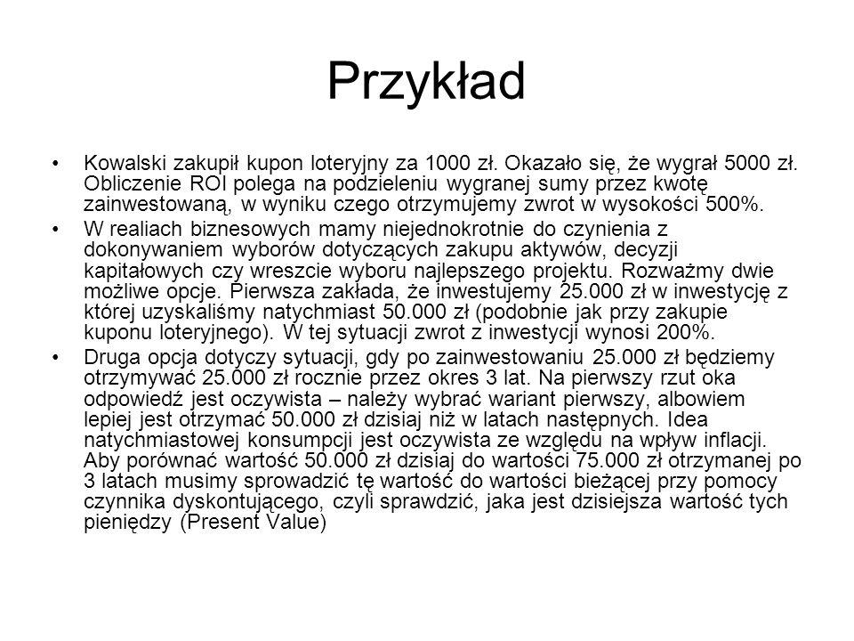 Przykład Kowalski zakupił kupon loteryjny za 1000 zł. Okazało się, że wygrał 5000 zł. Obliczenie ROI polega na podzieleniu wygranej sumy przez kwotę z