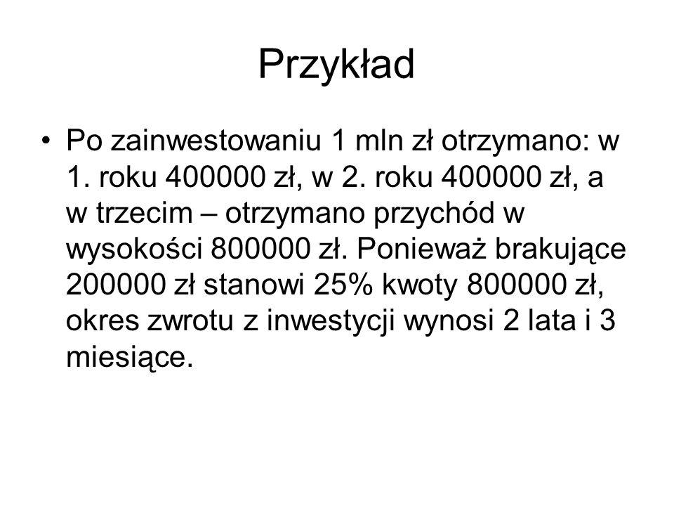 Przykład Po zainwestowaniu 1 mln zł otrzymano: w 1. roku 400000 zł, w 2. roku 400000 zł, a w trzecim – otrzymano przychód w wysokości 800000 zł. Ponie