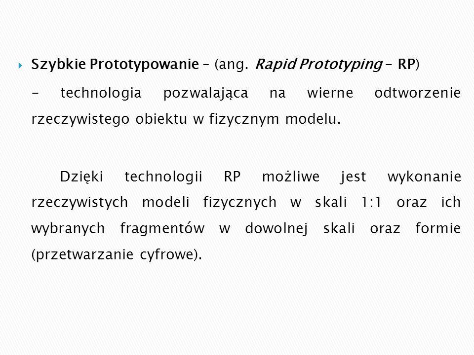  Szybkie Prototypowanie – (ang. Rapid Prototyping - RP) - technologia pozwalająca na wierne odtworzenie rzeczywistego obiektu w fizycznym modelu. Dzi