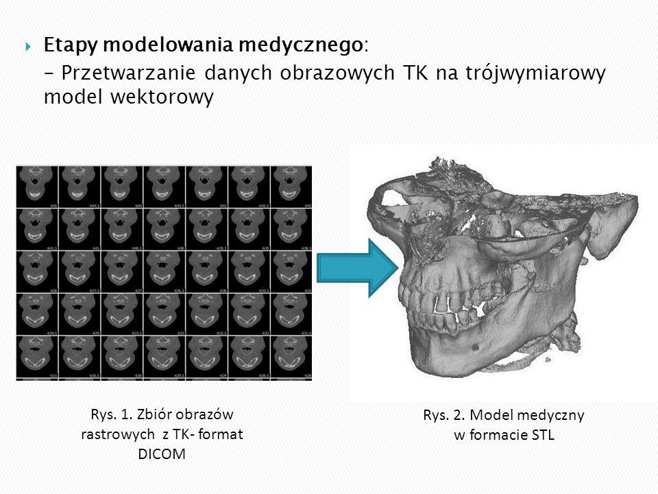 Etapy modelowania medycznego: - Przetwarzanie danych obrazowych TK na trójwymiarowy model wektorowy Rys. 1. Zbiór obrazów rastrowych z TK- format DI