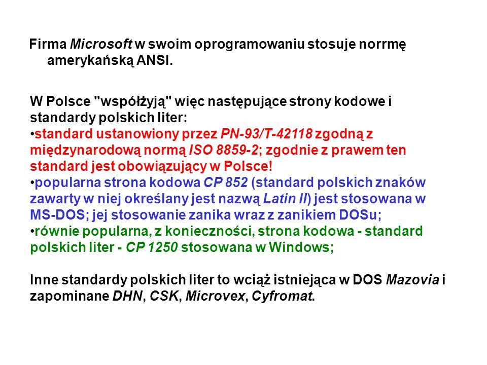 Firma Microsoft w swoim oprogramowaniu stosuje norrmę amerykańską ANSI. W Polsce