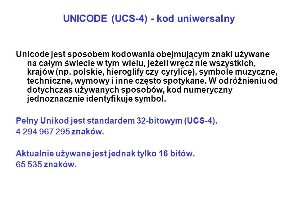 UNICODE (UCS-4) - kod uniwersalny Unicode jest sposobem kodowania obejmującym znaki używane na całym świecie w tym wielu, jeżeli wręcz nie wszystkich,